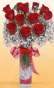 10 adet kirmizi gülden vazo tanzimi  Online Bursa çiçekçi