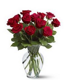 Çiçekçi Bursa sitesi nilüfer anneler günü çiçek yolla  cam yada mika vazoda 10 kirmizi gül