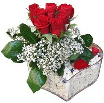Bursa çiçek kestel uluslararası çiçek gönderme  kalp mika içerisinde 7 adet kirmizi gül