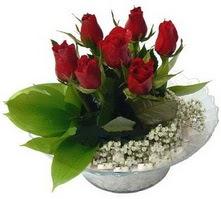 Bursa çiçek siparişi  cam yada mika içerisinde 5 adet kirmizi gül