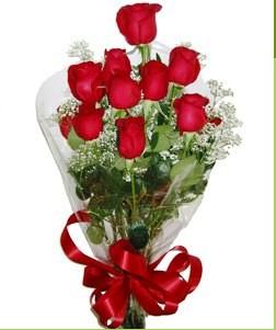 Bursadaki çiçekçi nilüfer hediye çiçek yolla  10 adet kırmızı gülden görsel buket