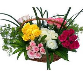 Bursa çiçek yolla osmangazi online çiçekçi , çiçek siparişi  35 adet rengarenk güllerden sepet tanzimi