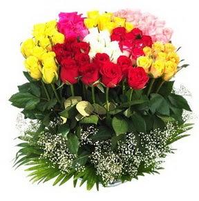 Bursa çiçek mustafa kemal paşa çiçek siparişi sitesi  51 adet renkli güllerden aranjman tanzimi