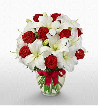 Bursa çiçek satışı Bursa çiçek yolla   1 dal kazablanka 11 adet kırmızı gül vazosu