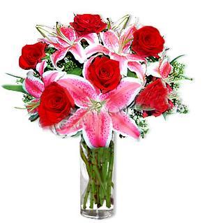 Bursa çiçek satışı iznik hediye sevgilime hediye çiçek  1 dal cazablanca ve 6 kırmızı gül çiçeği