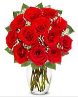 12 adet vazoda kıpkırmızı gül  Bursadaki çiçekçiler bursaya çiçek yolla