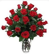 Online Bursa çiçekçi  24 adet kırmızı gülden vazo tanzimi