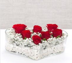 kalp içerisinde 7 adet kırmızı gül  Bursa çiçek karacabey çiçekçi telefonları