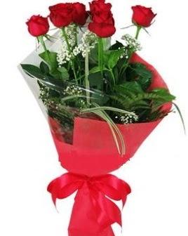5 adet kırmızı gülden buket  Bursa çiçek yenişehir çiçekçi mağazası
