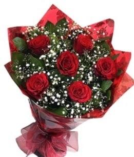 6 adet kırmızı gülden buket  Bursa çiçekçi karacabey 14 şubat sevgililer günü çiçek