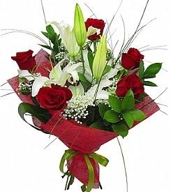 1 dal kazablanka 5 kırmızı gül buketi  Bursa çiçek yenişehir çiçekçi mağazası