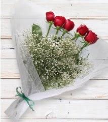 5 kırmızı gülden sade buket  Bursa çiçek satışı iznik hediye sevgilime hediye çiçek