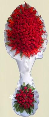 Çift katlı kıpkırmızı düğün açılış çiçeği  Çiçekçi Bursa sitesi nilüfer çiçek siparişi vermek