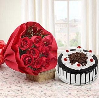 12 adet kırmızı gül 4 kişilik yaş pasta  Bursa çiçek büyük orhan yurtiçi ve yurtdışı çiçek siparişi