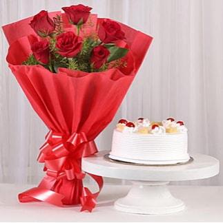 6 Kırmızı gül ve 4 kişilik yaş pasta  Bursa çiçek büyük orhan yurtiçi ve yurtdışı çiçek siparişi