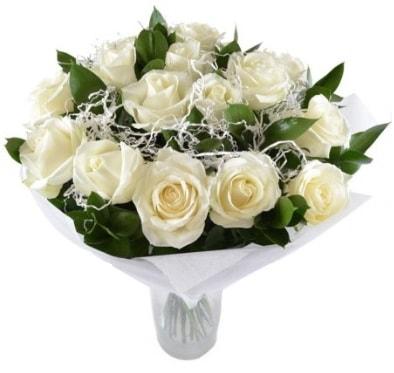 15 beyaz gül buketi sade aşk  Bursa çiçekçi inegöl kaliteli taze ve ucuz çiçekler