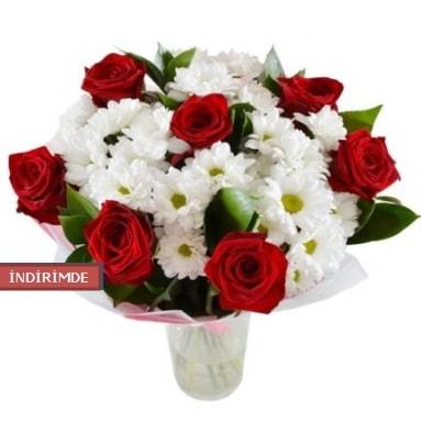 7 kırmızı gül ve 1 demet krizantem  Çiçekçi Bursa sitesi nilüfer anneler günü çiçek yolla
