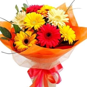 9 adet karışık gerbera buketi  Bursa çiçek büyük orhan yurtiçi ve yurtdışı çiçek siparişi