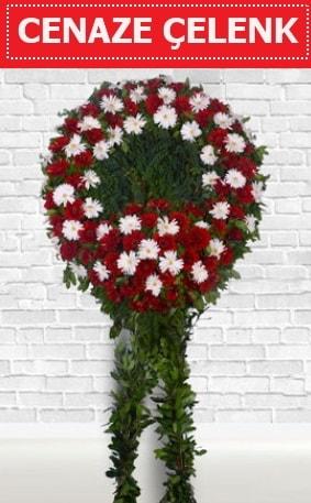 Kırmızı Beyaz Çelenk Cenaze çiçeği  Bursa çiçekçiler nilüfer cicekciler , cicek siparisi