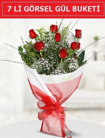 7 adet kırmızı gül buketi Aşk budur  Bursa çiçekçi inegöl kaliteli taze ve ucuz çiçekler