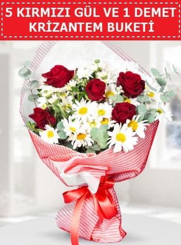 5 adet kırmızı gül ve krizantem buketi  Bursa çiçekçi inegöl kaliteli taze ve ucuz çiçekler