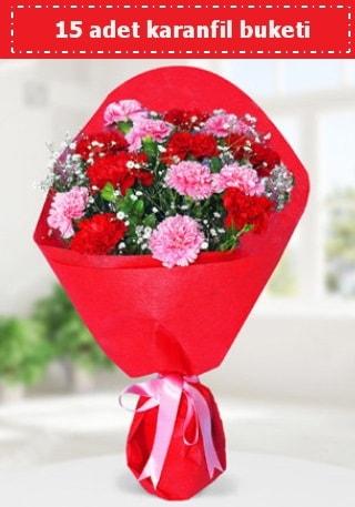 15 adet karanfilden hazırlanmış buket  Bursa çiçek ucuz çiçek gönder