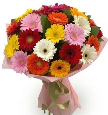 Karışık büyük boy gerbera çiçek buketi  Bursa çiçekçi inegöl kaliteli taze ve ucuz çiçekler