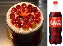 4 ve 6 Kişilik Çilekli yaş pasta 1 litre cola