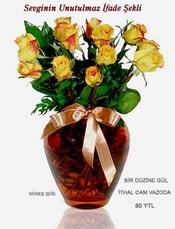 Bursa çiçek siparişi  mika yada Cam vazoda 12 adet sari gül